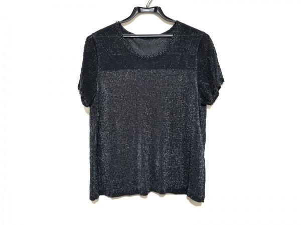 レリアン 半袖セーター サイズ15+ L レディース美品  ダークネイビー×シルバー