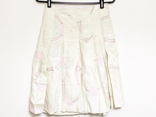 PRADA(プラダ) 巻きスカート サイズ40 M レディース アイボリー×ピンク