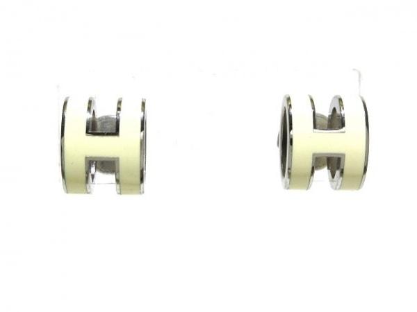 HERMES(エルメス) ピアス ポップアッシュ 金属素材 アイボリー×シルバー