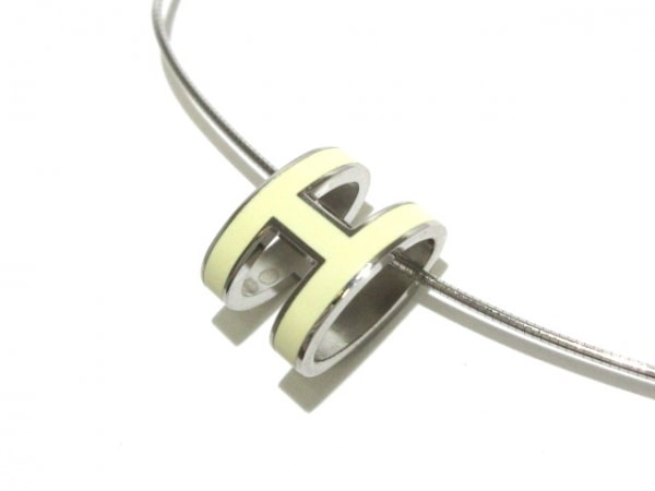 HERMES(エルメス) ネックレス美品  ポップアッシュ 金属素材 シルバー×アイボリー