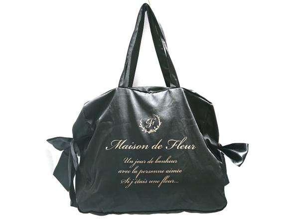 Maison de FLEUR(メゾンドフルール) トートバッグ 黒 リボン 化学繊維