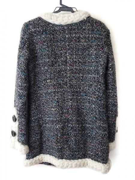 ルシェルブルー コート サイズ38 M レディース美品  黒×アイボリー×マルチ 春・秋物