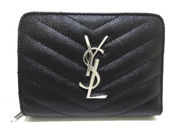 サンローランパリ 2つ折り財布美品  モノグラムコンパクトジップウォレット 403723 黒