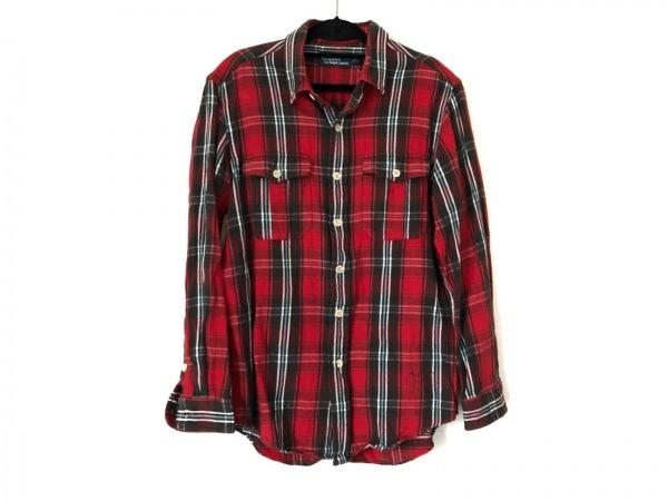 ポロラルフローレン 長袖シャツ サイズL メンズ レッド×ダークグリーン×マルチ