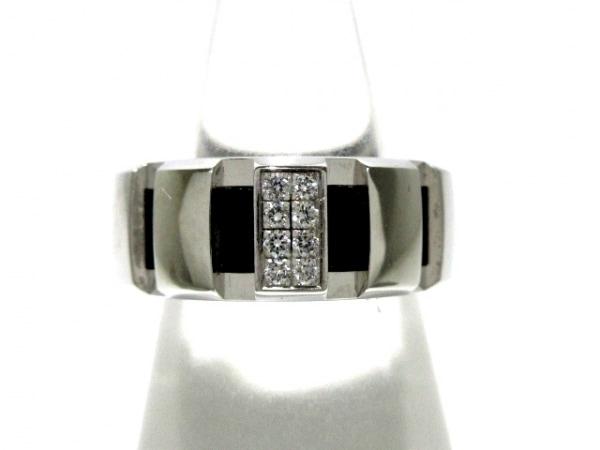 CHAUMET(ショーメ) リング美品  クラスワン K18WG×ラバー×ダイヤモンド 黒 8Pダイヤ