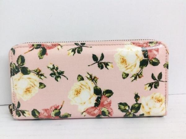 ピンクハウス 長財布 ピンク×白×マルチ ラウンドファスナー/花柄 PVC(塩化ビニール)