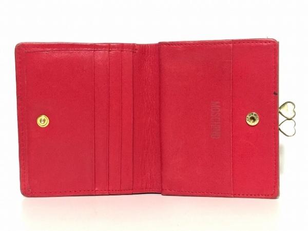 MOSCHINO(モスキーノ) 2つ折り財布 レッド がま口/ハート/キルティング レザー