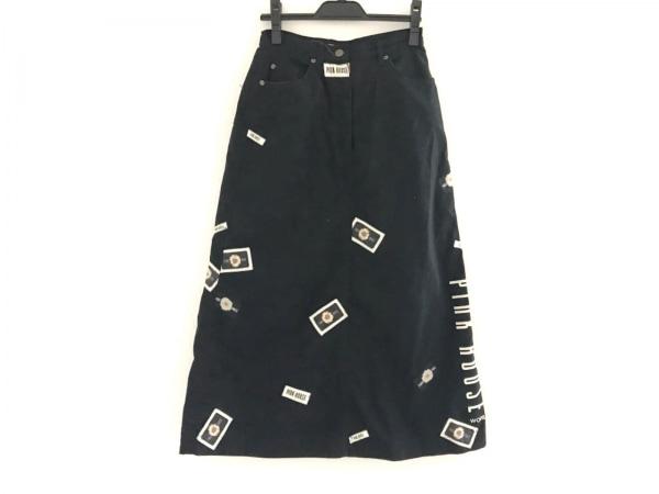 ピンクハウス ロングスカート サイズM レディース美品  黒×マルチ ジップアップ