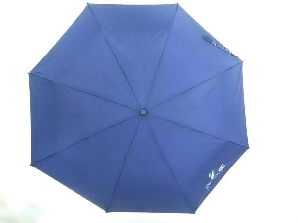 SWAROVSKI(スワロフスキー) 折りたたみ傘美品  ダークネイビー 自動開き ナイロン