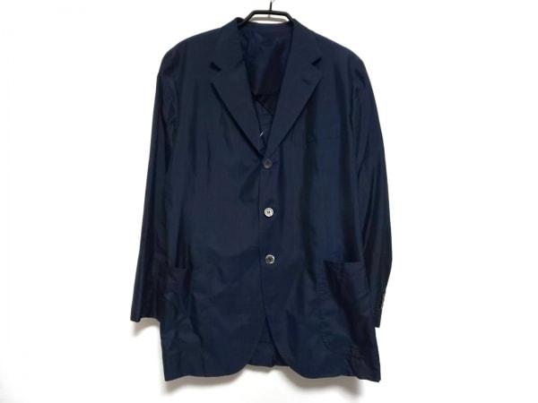 ゼニア ジャケット メンズ ネイビー×ブルー チェック柄/ネーム刺繍