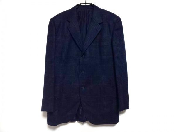 ゼニア ジャケット メンズ ネイビー×ブラウン チェック柄/ネーム刺繍/カシミヤ