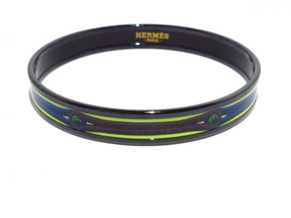HERMES(エルメス) バングル美品  エマイユ 金属素材 黒×ライトグリーン×マルチ