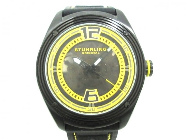 ストゥーリングオリジナル 腕時計美品  ST-90050 メンズ ダークブラウン×イエロー