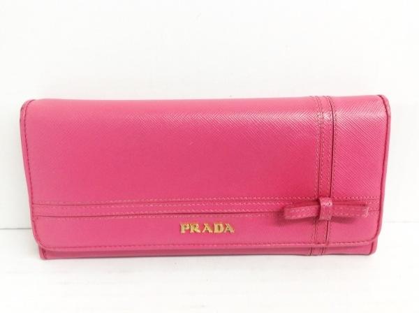 PRADA(プラダ) 長財布 - ピンク×ゴールド リボン レザー×金属素材