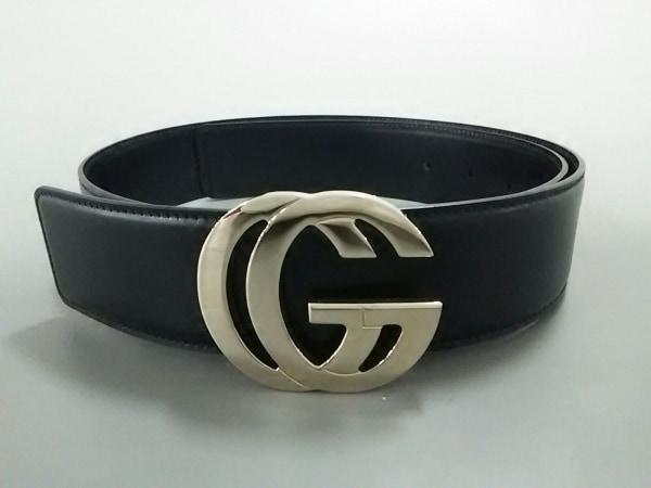 GUCCI(グッチ) ベルト 黒×ゴールド レザー×金属素材