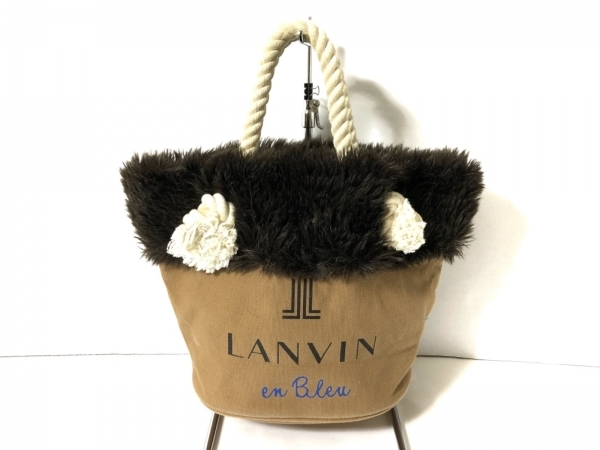 LANVIN en Bleu(ランバンオンブルー) ハンドバッグ ベージュ×ダークブラウン