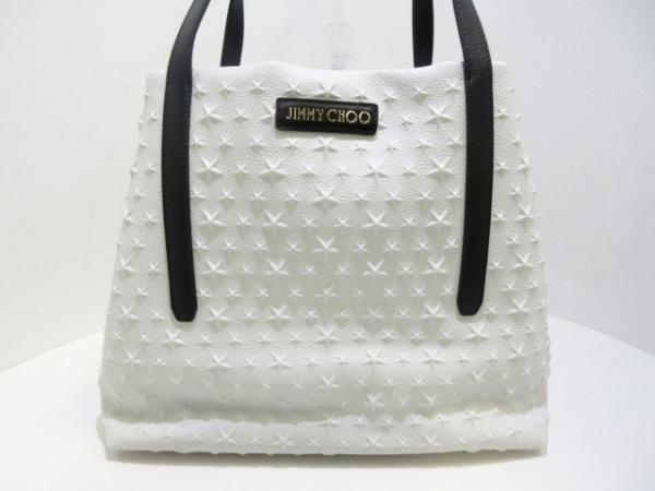 JIMMY CHOO(ジミーチュウ) トートバッグ美品  サラ 白×黒 スターエンボス レザー
