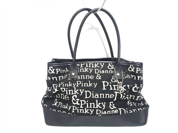 Pinky&Dianne(ピンキー&ダイアン) トートバッグ 黒×アイボリー コットン×レザー