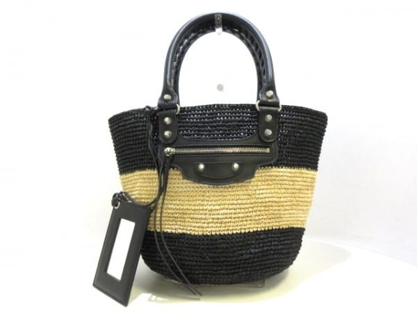 バレンシアガ トートバッグ美品  パニエXS 466498 黒×アイボリー かごバッグ