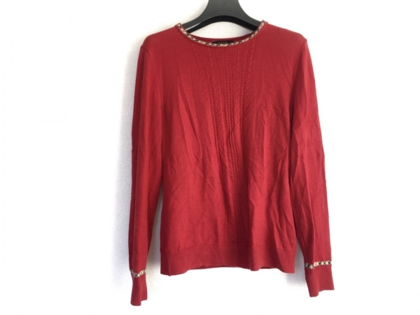 DAKS(ダックス) 長袖セーター サイズ38 L レディース レッド×黒×ベージュ