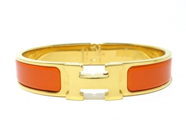 HERMES(エルメス) バングル美品  クリッククラック 金属素材 ゴールド×オレンジ