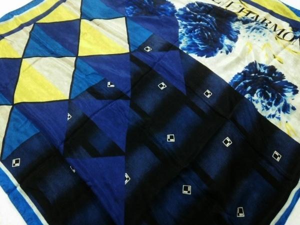 ピエールルイマシア スカーフ美品  黒×ネイビー×マルチ シルク×コットン