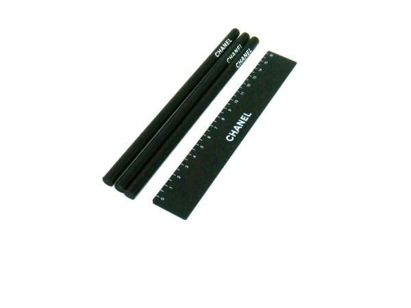 シャネル 小物美品  黒 鉛筆×3、定規セット/ノベルティ ウッド×プラスチック