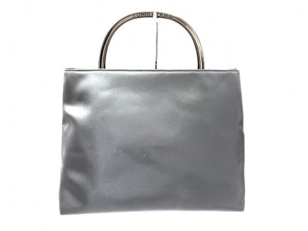 ソニアリキエル ハンドバッグ ダークグレー 金属ハンドル ナイロン×金属素材