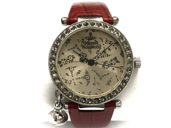 ヴィヴィアン 腕時計 VV006SLRD レディース 革ベルト/ラインストーンベゼル シルバー