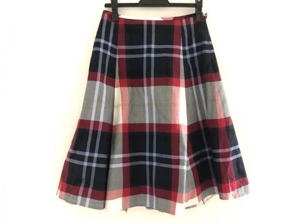 ヨークランド スカート サイズ11 M レディース美品  レッド×ネイビー×マルチ