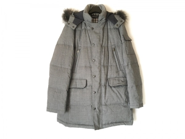 ニューヨーカー ダウンコート サイズL メンズ美品  白×黒×ネイビー 千鳥格子/冬物