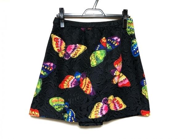 MOSCHINO(モスキーノ) スカート レディース美品  黒×レッド×マルチ