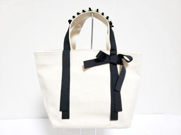 アナトリエ ハンドバッグ アイボリー×黒 フェイクパール キャンバス×化学繊維