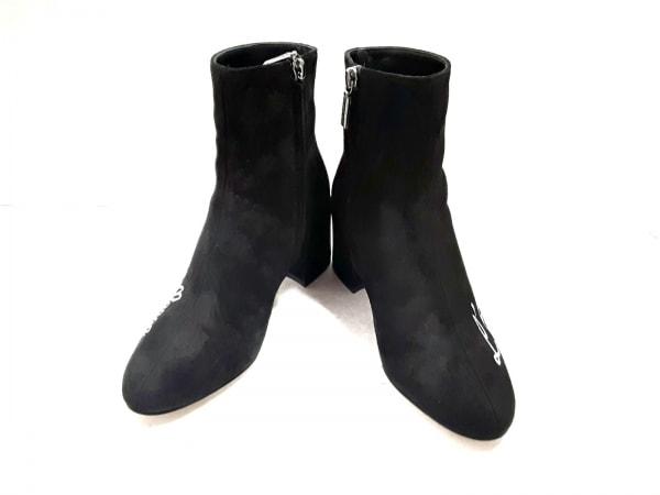 ドルチェアンドガッバーナ ショートブーツ 35 レディース美品  黒×ライトグレー 刺繍