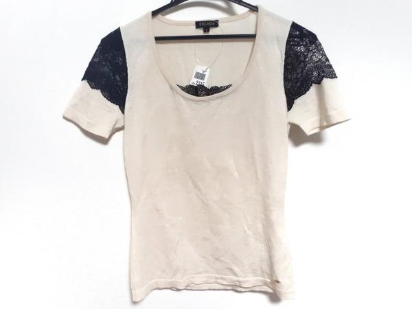 ESCADA(エスカーダ) 半袖セーター サイズS レディース美品  アイボリー×黒 レース