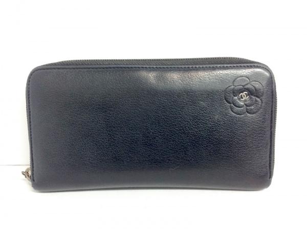 CHANEL(シャネル) 長財布 カメリア 黒 ラウンドファスナー レザー
