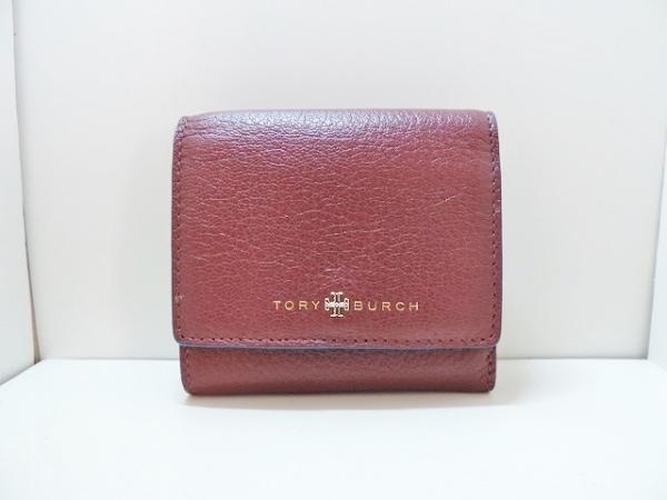 TORY BURCH(トリーバーチ) 2つ折り財布美品  ボルドー×ブルー レザー