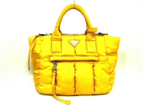 PRADA(プラダ) ハンドバッグ美品  テスートボンバー イエロー ナイロン