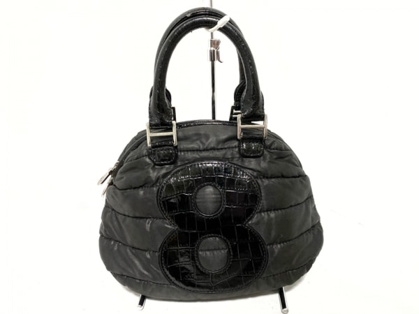 muta(ムータ) ハンドバッグ 黒 型押し加工/ミニ ナイロン×エナメル(レザー)