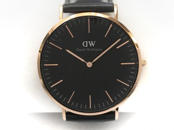 Daniel Wellington(ダニエルウェリントン) 腕時計 B40R2 メンズ 革ベルト 黒