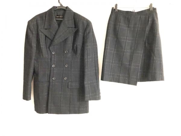 コムデギャルソン スカートスーツ サイズM レディース 黒×ゴールド チェック柄