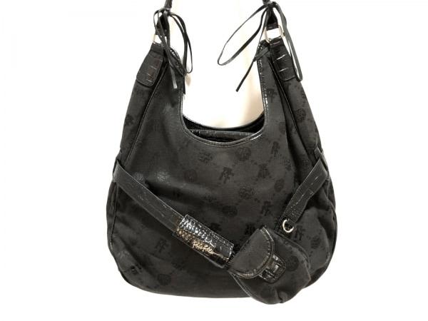 FolliFollie(フォリフォリ) トートバッグ 黒 型押し加工 ジャガード×合皮