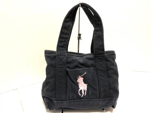 ポロラルフローレン トートバッグ ネイビー×ピンク ビッグポニー/刺繍 キャンバス