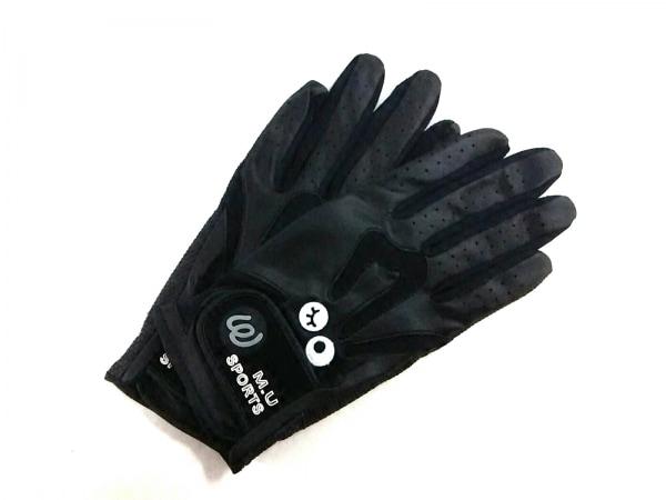 ミエコウエサコ 手袋 M レディース美品  黒 ゴルフグローブ 合皮×ラバー×化学繊維
