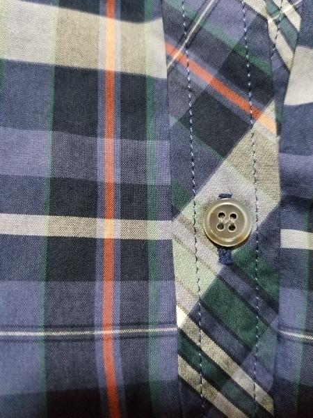 ニジュウサンク 七分袖シャツブラウス サイズ46 XL レディース美品  ネイビー×マルチ