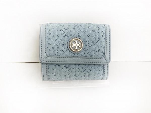 TORY BURCH(トリーバーチ) 3つ折り財布 ライトブルー 刺繍 レザー