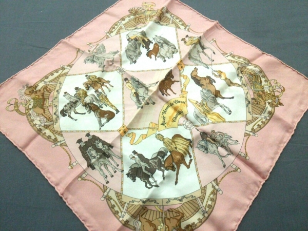 HERMES(エルメス) スカーフ - ピンク×白×マルチ