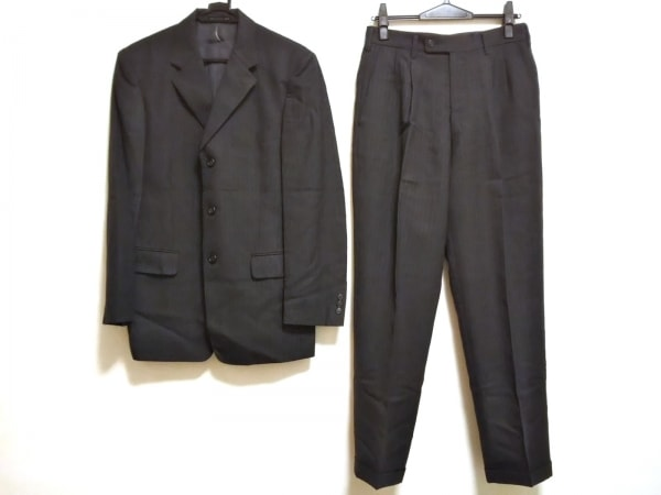 コムサデモードメン シングルスーツ サイズ2 M メンズ ダークグレー ストライプ