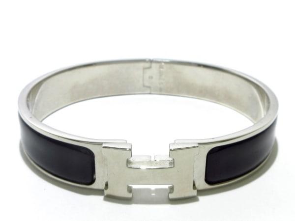 HERMES(エルメス) バングル クリッククラック 金属素材 シルバー×黒