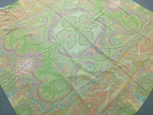 ETRO(エトロ) スカーフ美品  ライトグリーン×オレンジ×マルチ